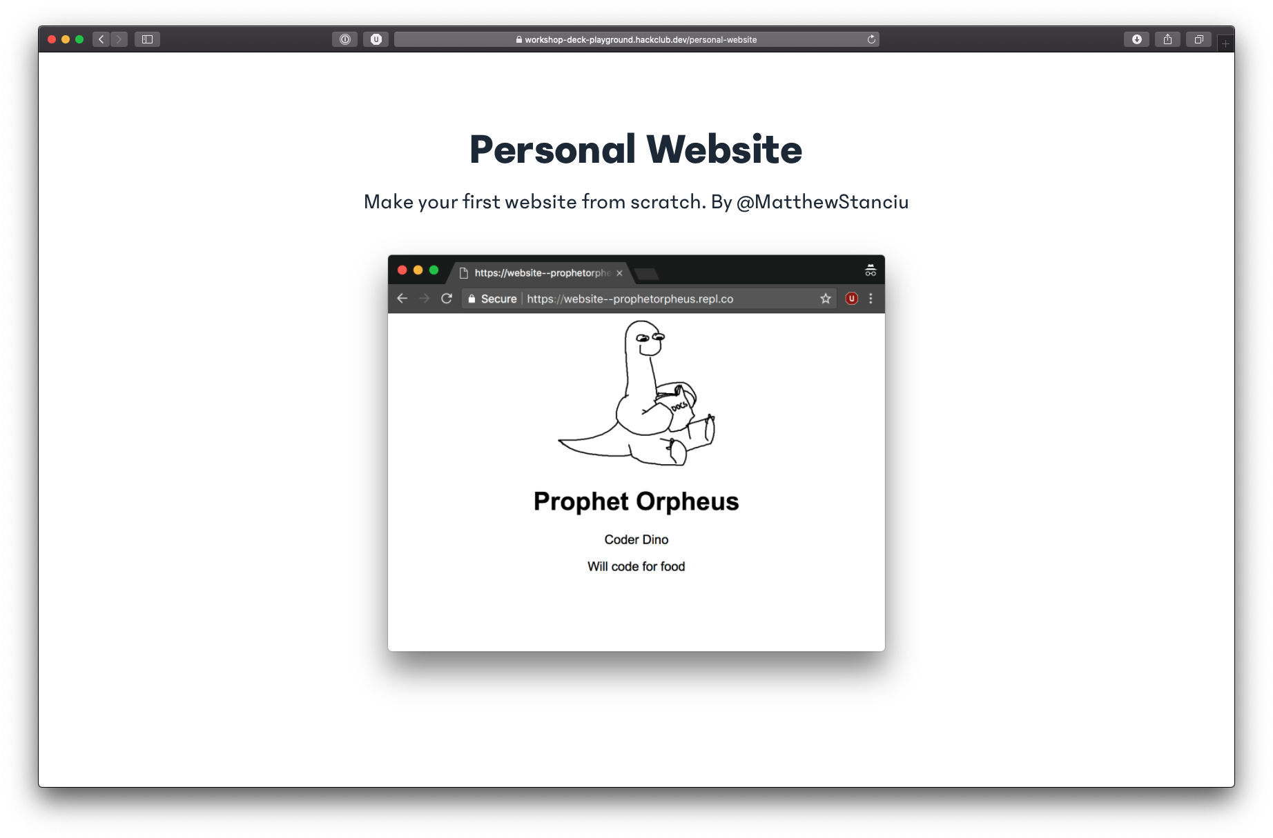 Screenshot of the new personal website workshop
